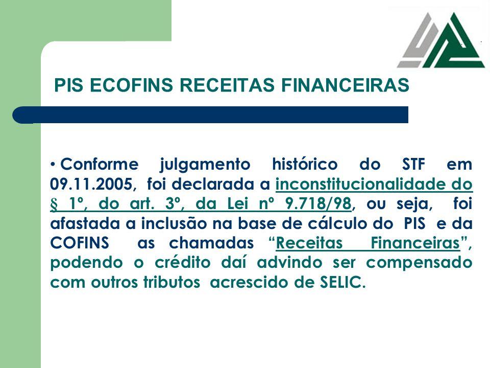PIS ECOFINS RECEITAS FINANCEIRAS