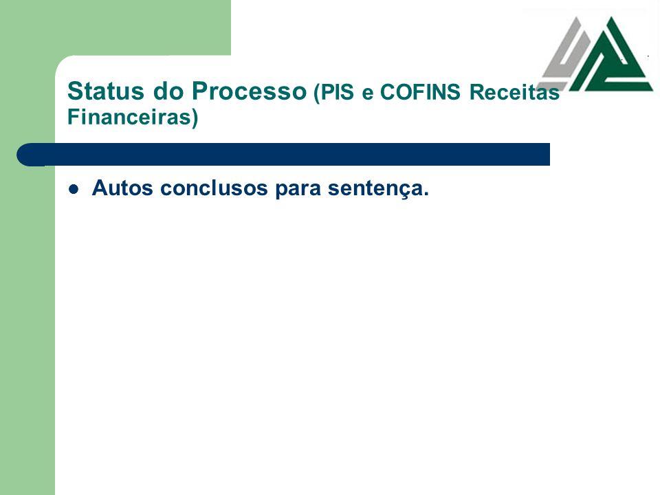 Status do Processo (PIS e COFINS Receitas Financeiras)