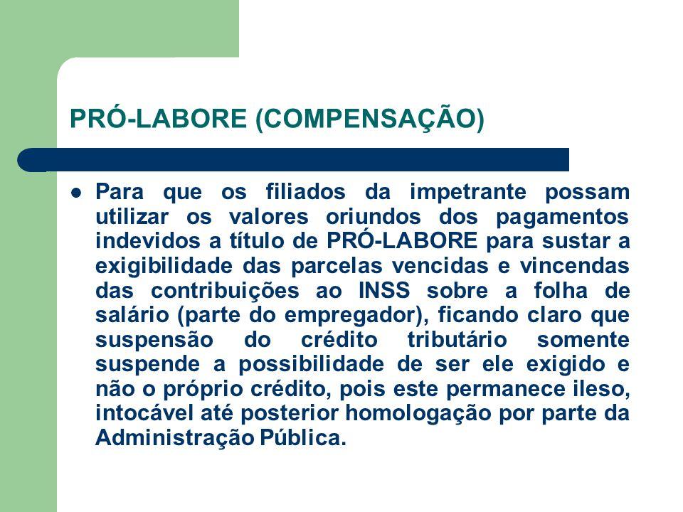 PRÓ-LABORE (COMPENSAÇÃO)