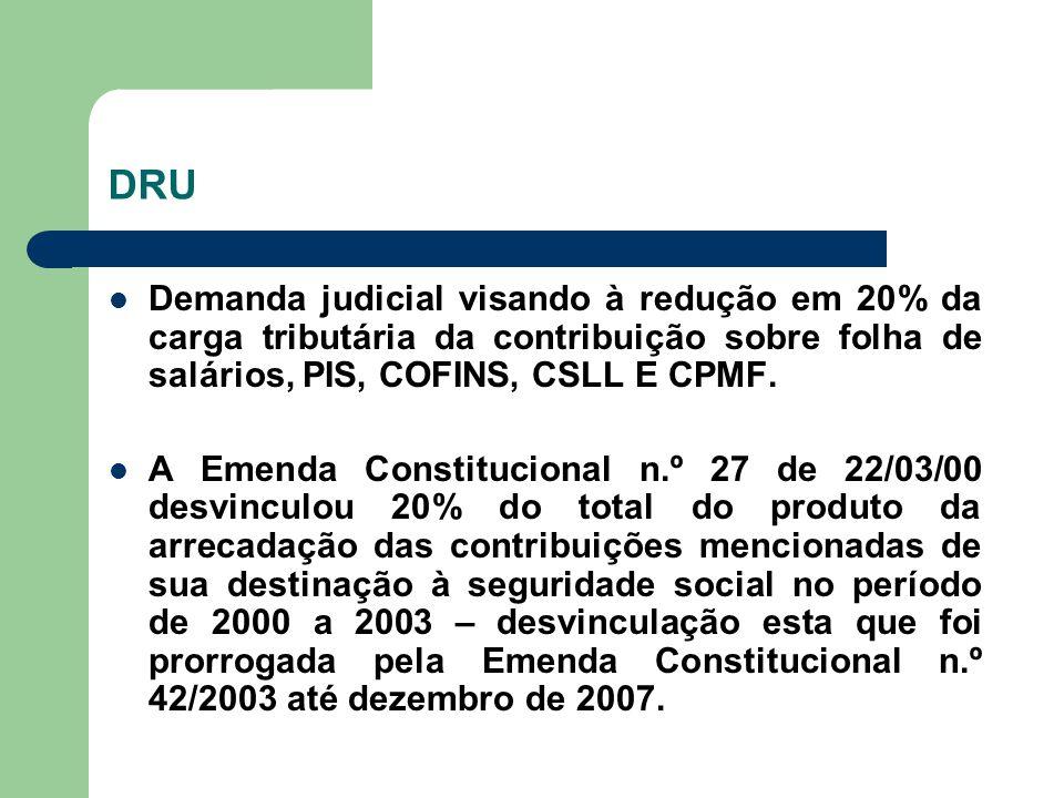 DRU Demanda judicial visando à redução em 20% da carga tributária da contribuição sobre folha de salários, PIS, COFINS, CSLL E CPMF.