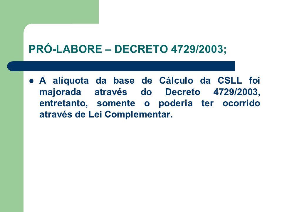 PRÓ-LABORE – DECRETO 4729/2003;