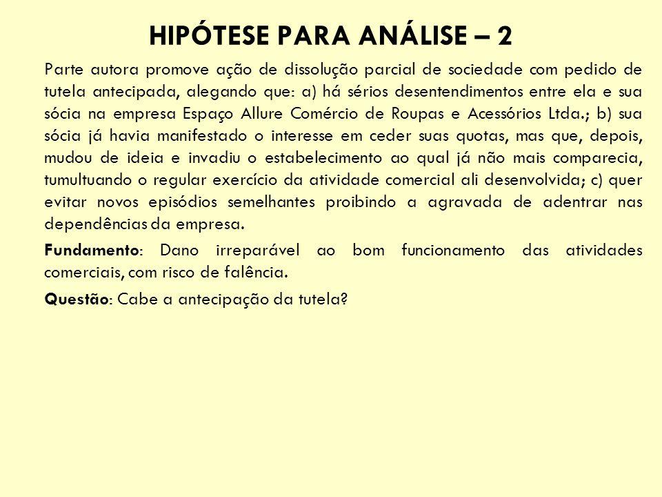 HIPÓTESE PARA ANÁLISE – 2