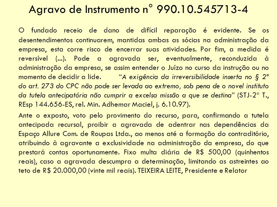 Agravo de Instrumento n° 990.10.545713-4