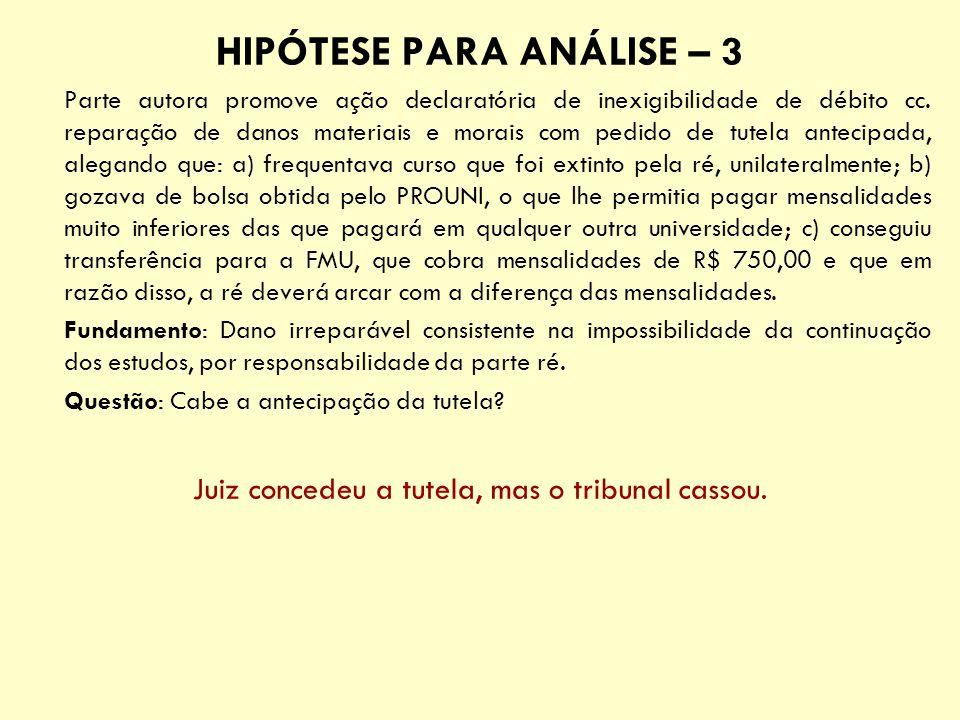 HIPÓTESE PARA ANÁLISE – 3