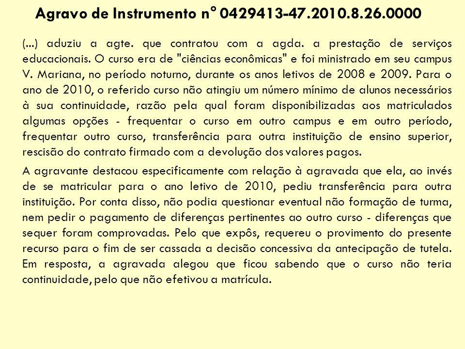 Agravo de Instrumento n° 0429413-47.2010.8.26.0000