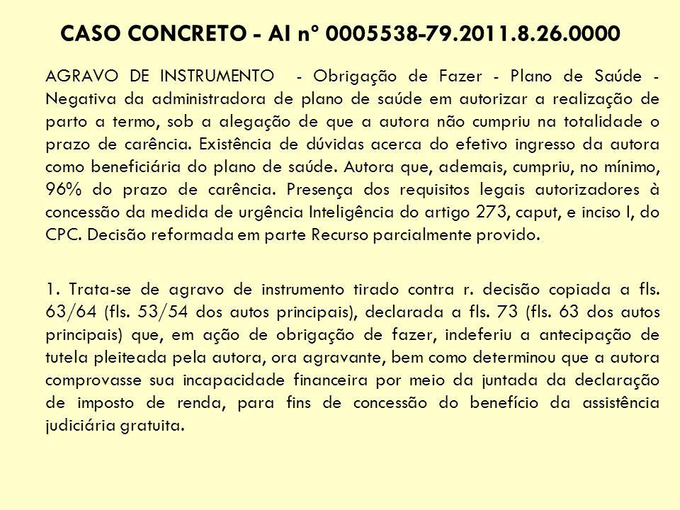 CASO CONCRETO - AI nº 0005538-79.2011.8.26.0000