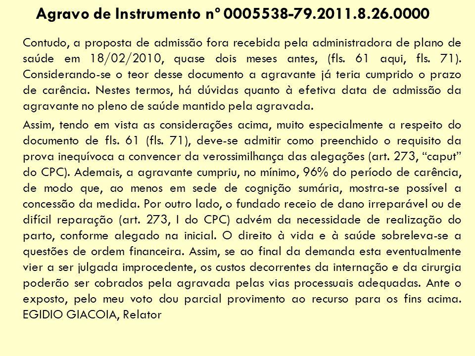 Agravo de Instrumento nº 0005538-79.2011.8.26.0000