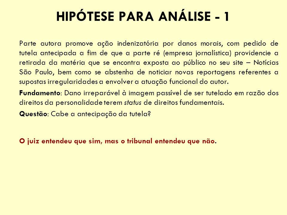 HIPÓTESE PARA ANÁLISE - 1