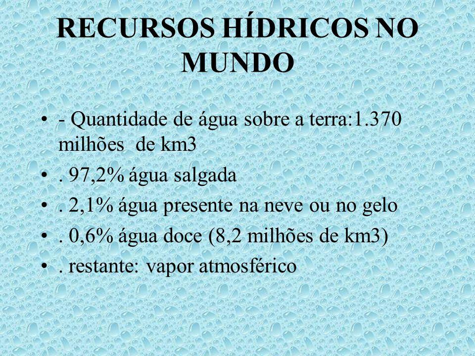RECURSOS HÍDRICOS NO MUNDO