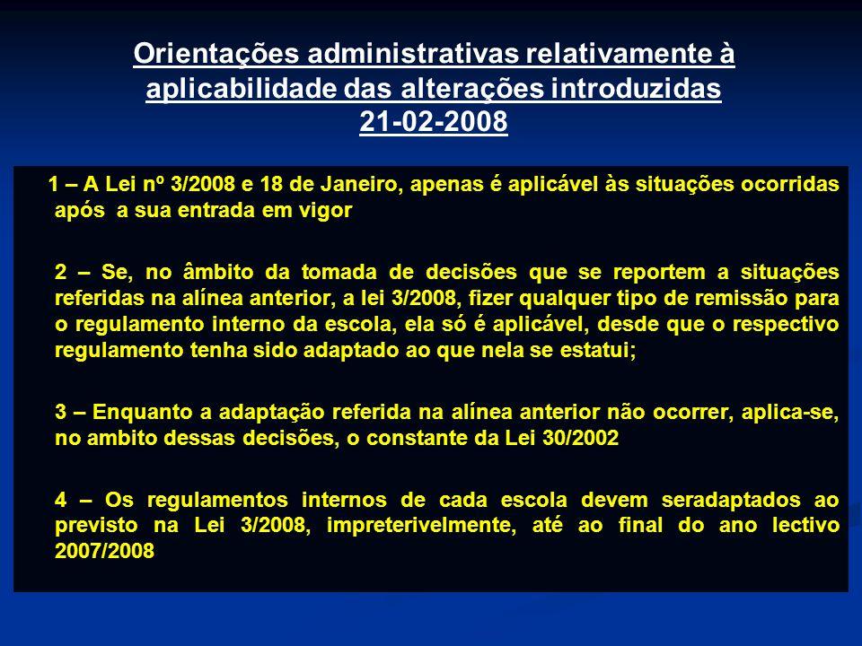 Orientações administrativas relativamente à aplicabilidade das alterações introduzidas