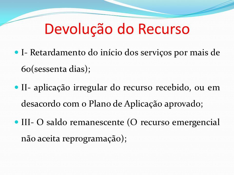 Devolução do Recurso I- Retardamento do início dos serviços por mais de 60(sessenta dias);