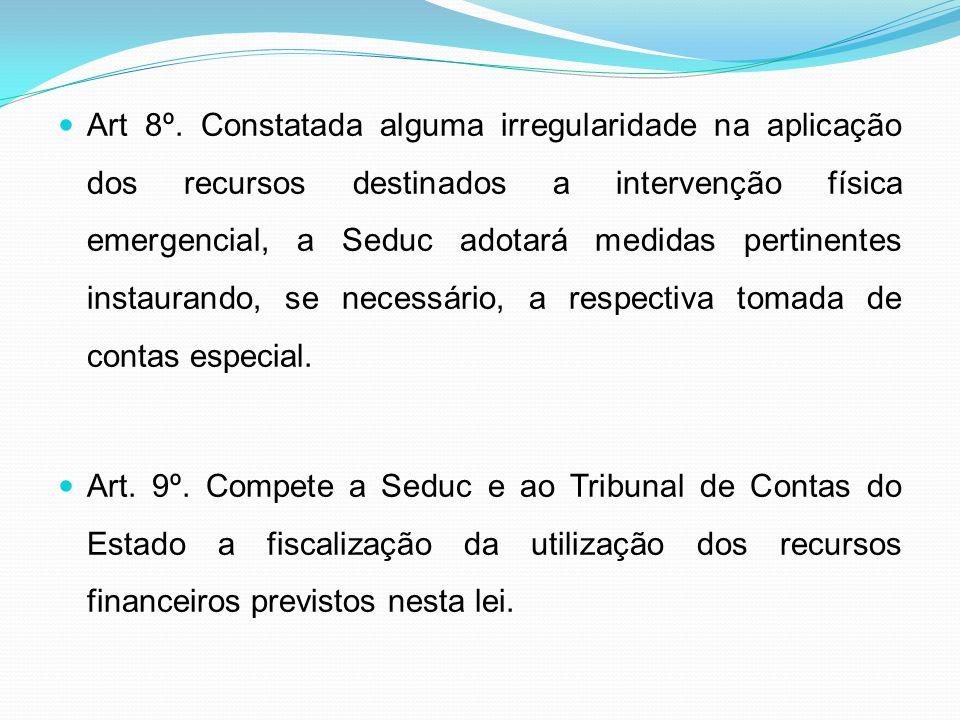 Art 8º. Constatada alguma irregularidade na aplicação dos recursos destinados a intervenção física emergencial, a Seduc adotará medidas pertinentes instaurando, se necessário, a respectiva tomada de contas especial.