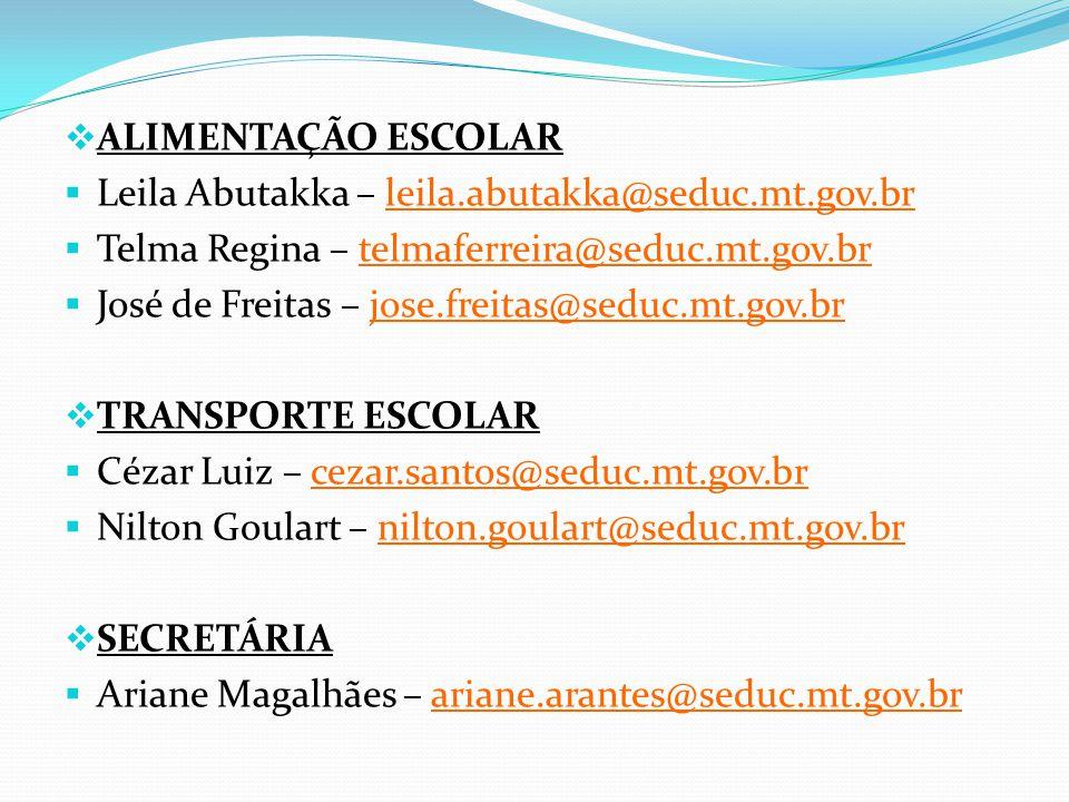 ALIMENTAÇÃO ESCOLAR Leila Abutakka – leila.abutakka@seduc.mt.gov.br. Telma Regina – telmaferreira@seduc.mt.gov.br.