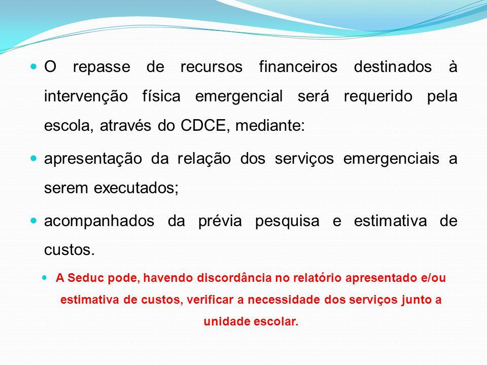 apresentação da relação dos serviços emergenciais a serem executados;