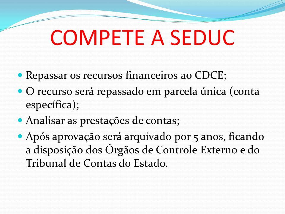 COMPETE A SEDUC Repassar os recursos financeiros ao CDCE;