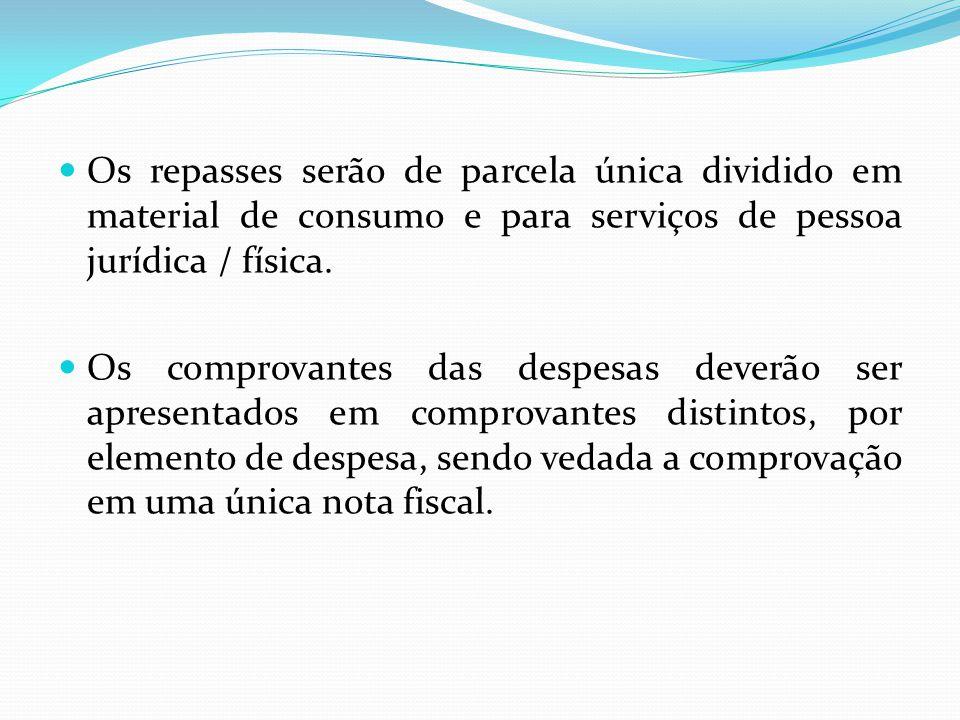 Os repasses serão de parcela única dividido em material de consumo e para serviços de pessoa jurídica / física.