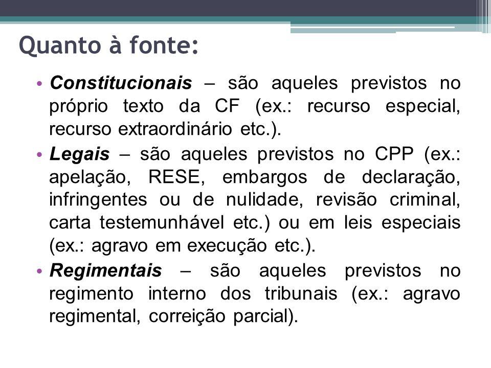 Quanto à fonte: Constitucionais – são aqueles previstos no próprio texto da CF (ex.: recurso especial, recurso extraordinário etc.).