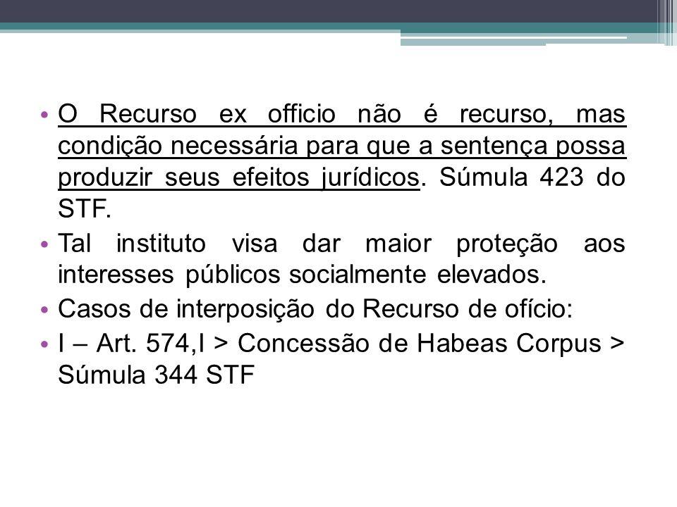 O Recurso ex officio não é recurso, mas condição necessária para que a sentença possa produzir seus efeitos jurídicos. Súmula 423 do STF.