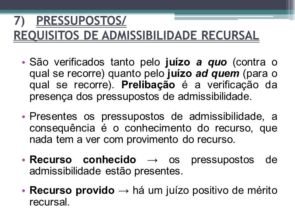 7) PRESSUPOSTOS/ REQUISITOS DE ADMISSIBILIDADE RECURSAL