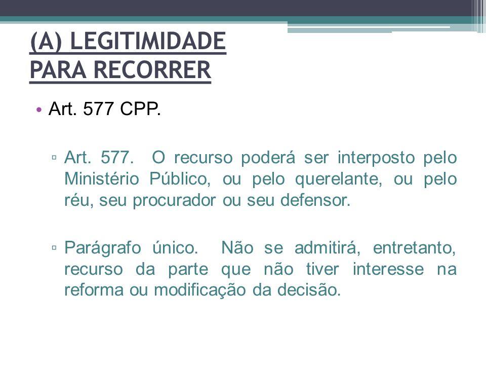 (A) LEGITIMIDADE PARA RECORRER