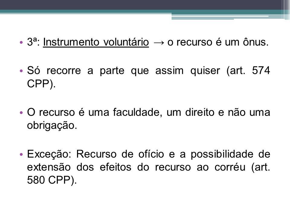 3ª: Instrumento voluntário → o recurso é um ônus.