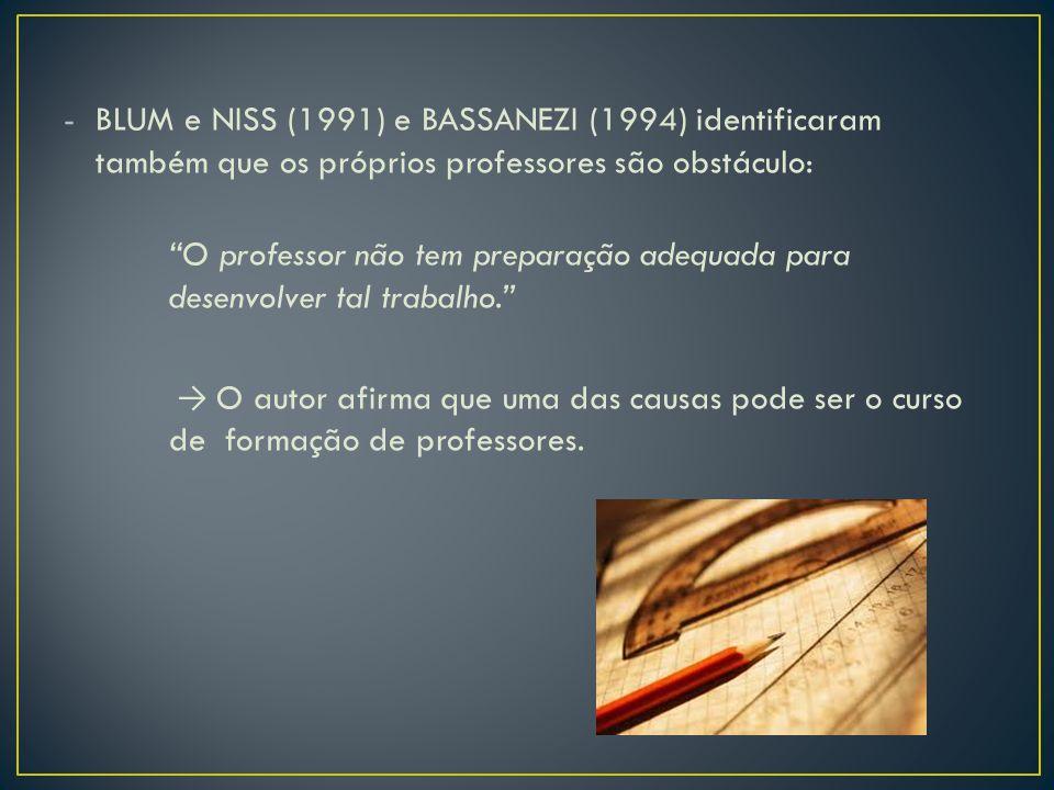 BLUM e NISS (1991) e BASSANEZI (1994) identificaram também que os próprios professores são obstáculo: