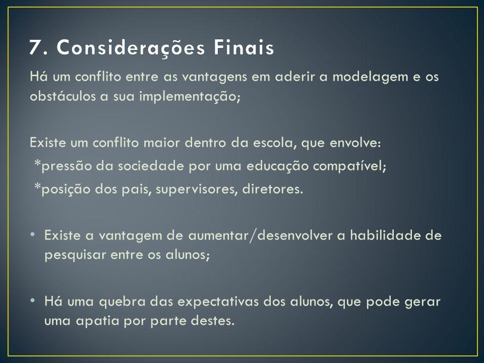 7. Considerações Finais Há um conflito entre as vantagens em aderir a modelagem e os obstáculos a sua implementação;