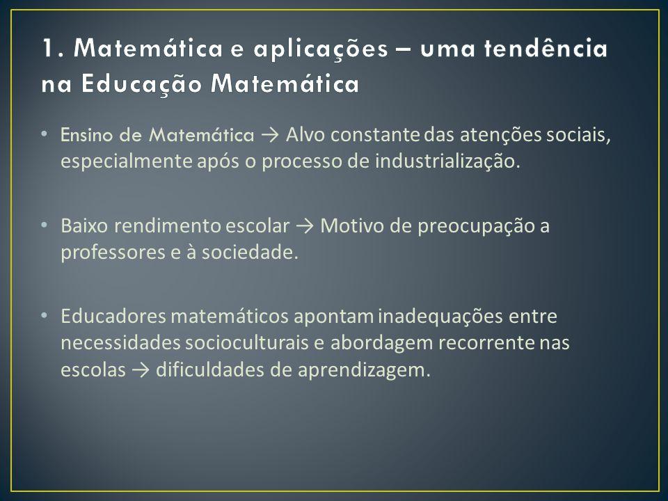1. Matemática e aplicações – uma tendência na Educação Matemática