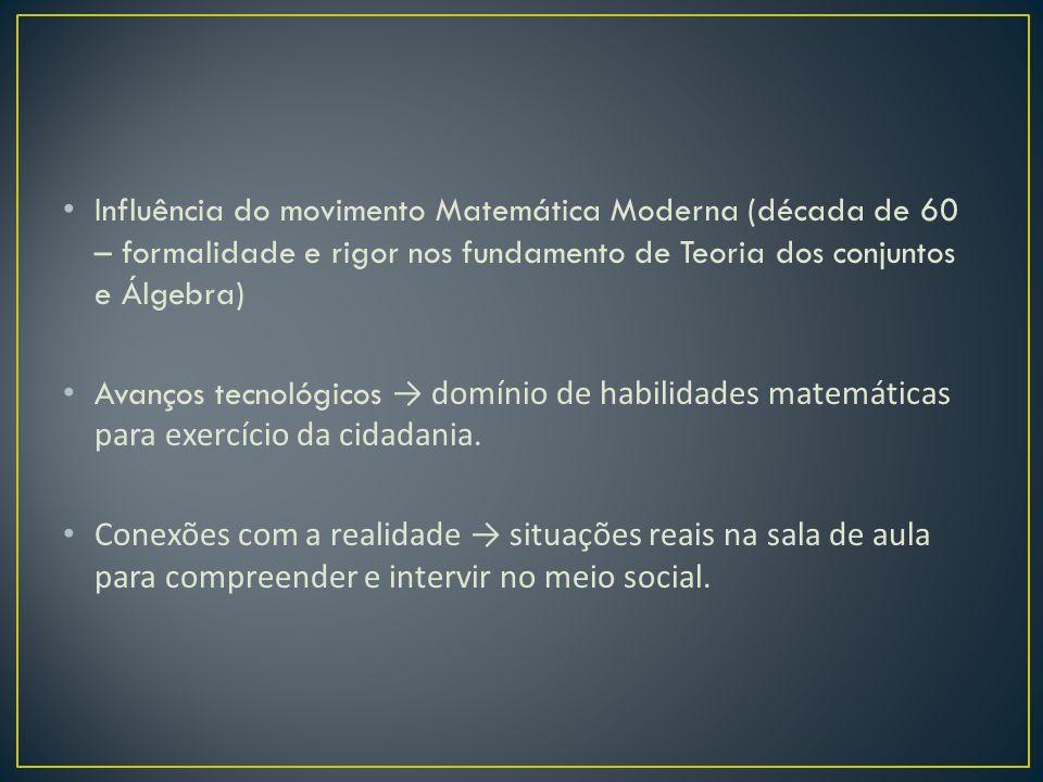 Influência do movimento Matemática Moderna (década de 60 – formalidade e rigor nos fundamento de Teoria dos conjuntos e Álgebra)