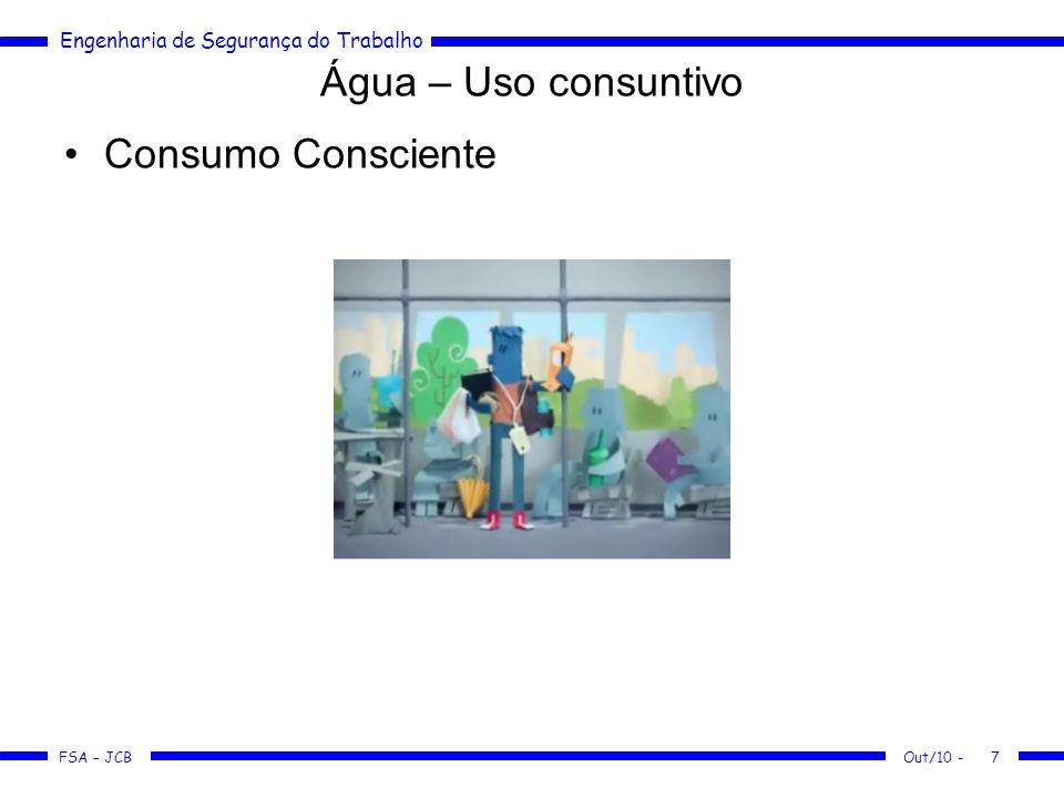 Água – Uso consuntivo Consumo Consciente Out/10 -