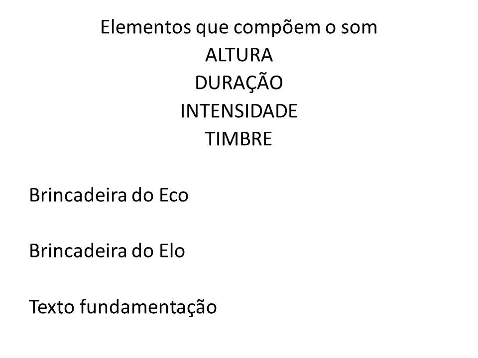Elementos que compõem o som ALTURA DURAÇÃO INTENSIDADE TIMBRE Brincadeira do Eco Brincadeira do Elo Texto fundamentação