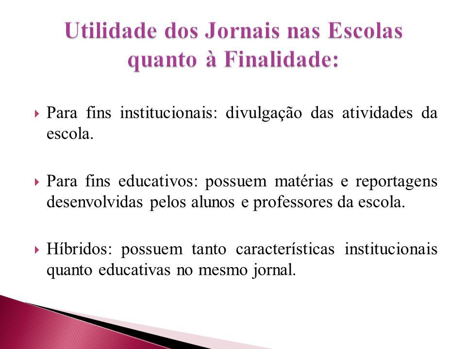 Utilidade dos Jornais nas Escolas quanto à Finalidade: