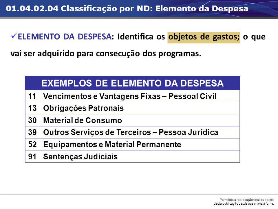 EXEMPLOS DE ELEMENTO DA DESPESA
