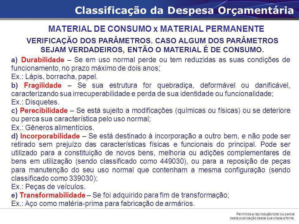 MATERIAL DE CONSUMO x MATERIAL PERMANENTE