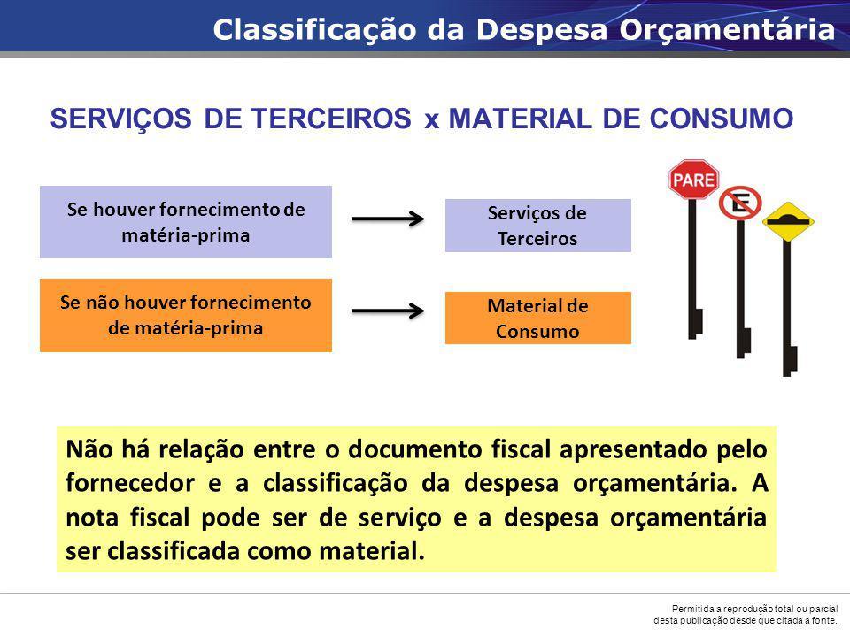 SERVIÇOS DE TERCEIROS x MATERIAL DE CONSUMO