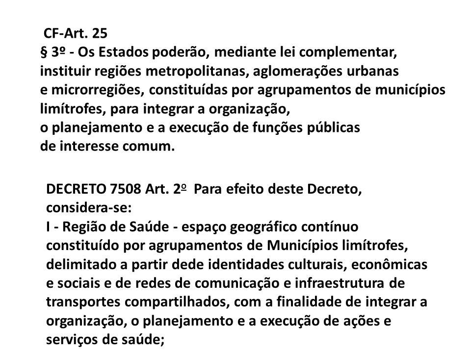 CF-Art. 25 § 3º - Os Estados poderão, mediante lei complementar, instituir regiões metropolitanas, aglomerações urbanas.
