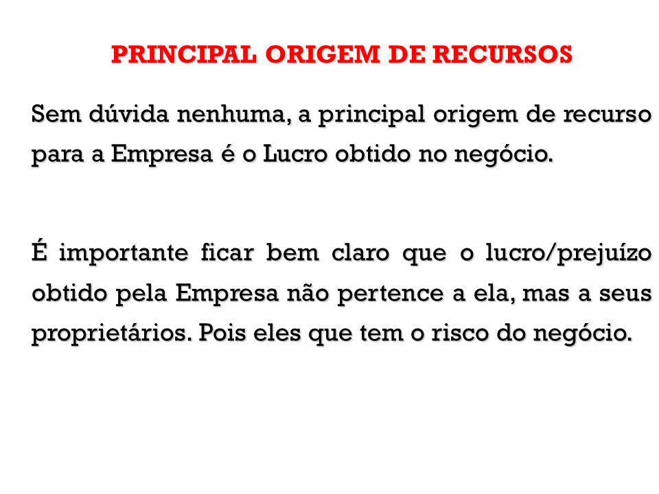 PRINCIPAL ORIGEM DE RECURSOS