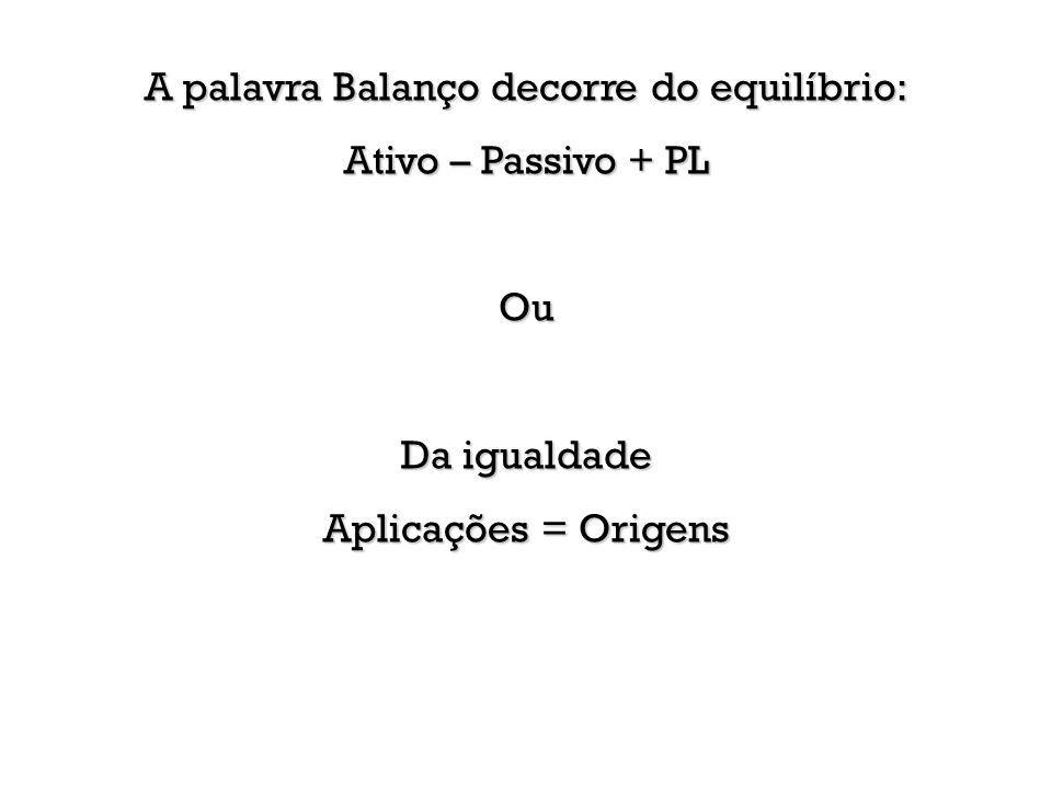 A palavra Balanço decorre do equilíbrio: