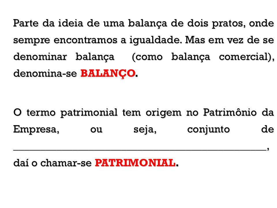 Parte da ideia de uma balança de dois pratos, onde sempre encontramos a igualdade. Mas em vez de se denominar balança (como balança comercial), denomina-se BALANÇO.