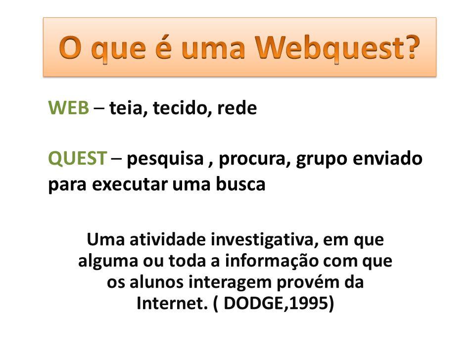 O que é uma Webquest WEB – teia, tecido, rede