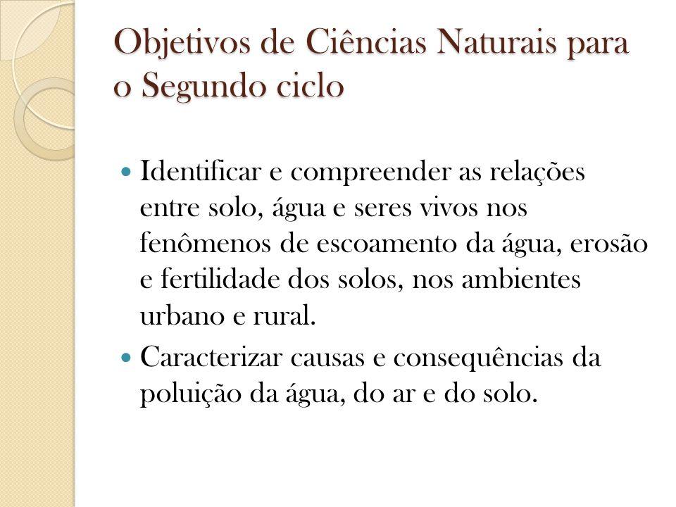 Objetivos de Ciências Naturais para o Segundo ciclo