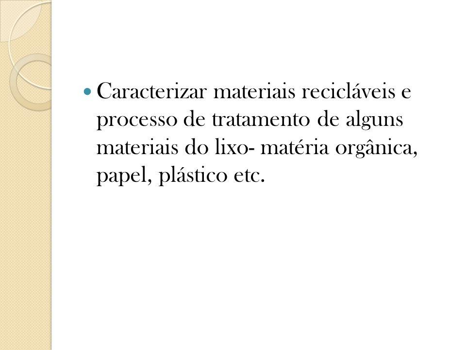 Caracterizar materiais recicláveis e processo de tratamento de alguns materiais do lixo- matéria orgânica, papel, plástico etc.