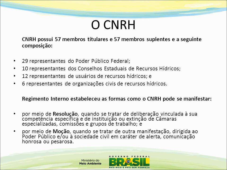 O CNRH 29 representantes do Poder Público Federal;
