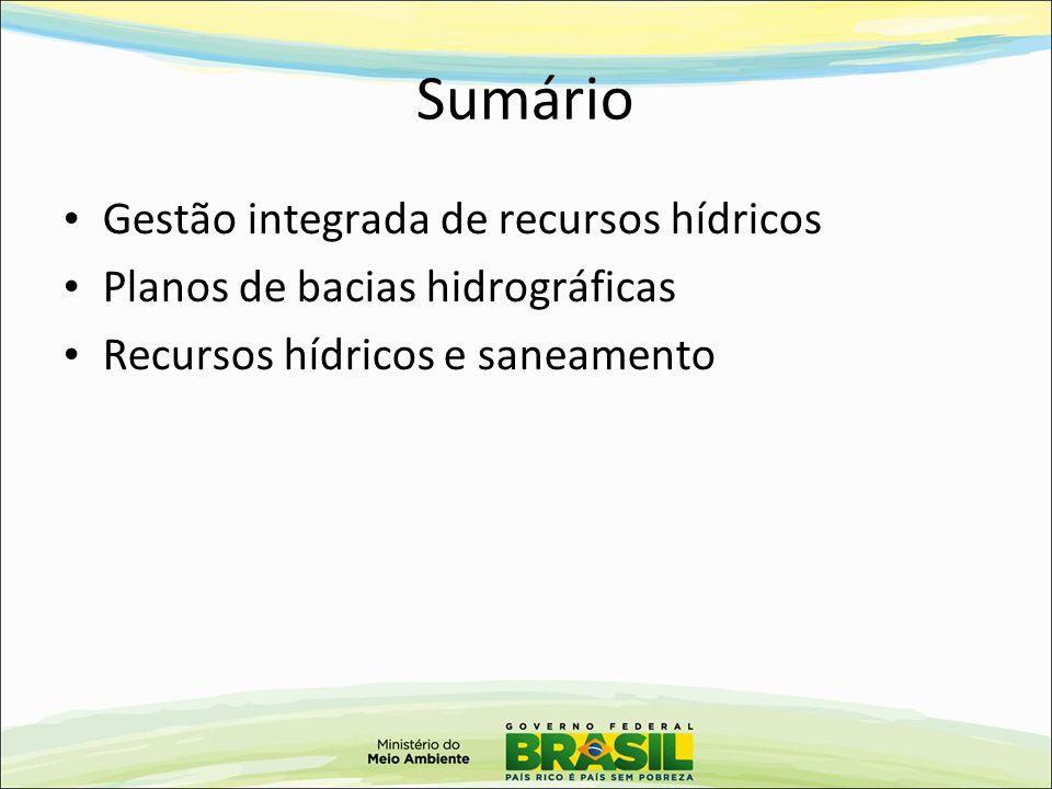 Sumário Gestão integrada de recursos hídricos