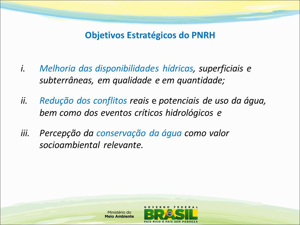 Objetivos Estratégicos do PNRH