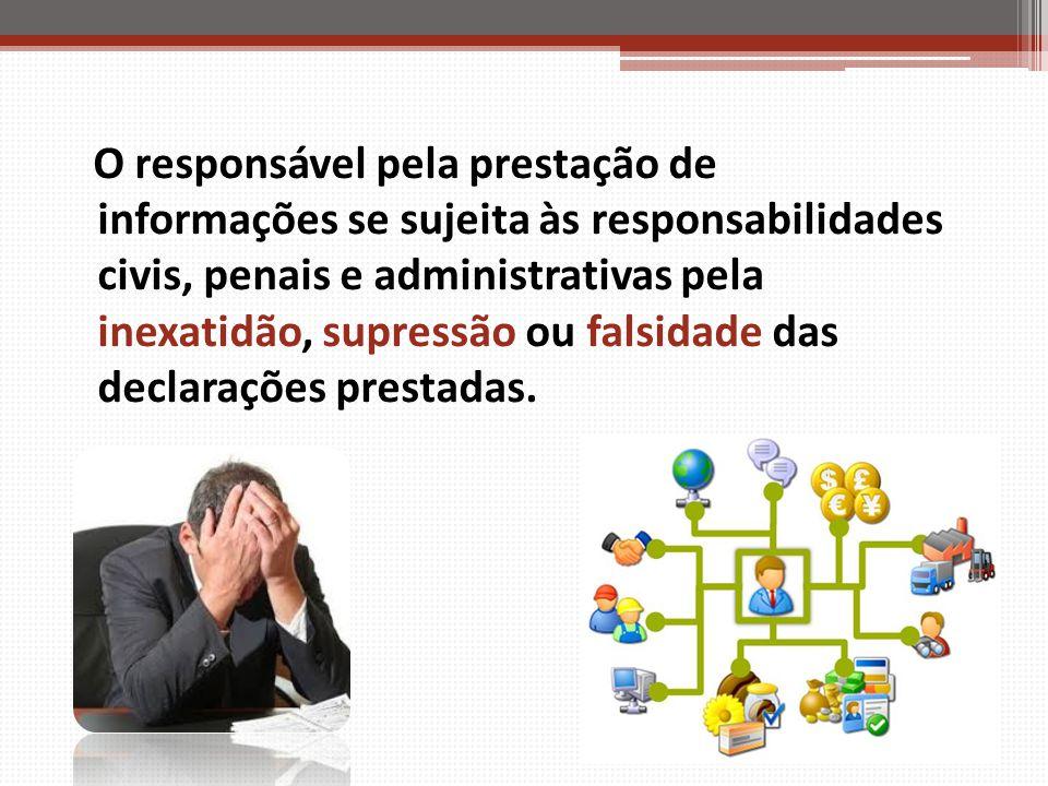 O responsável pela prestação de informações se sujeita às responsabilidades civis, penais e administrativas pela inexatidão, supressão ou falsidade das declarações prestadas.