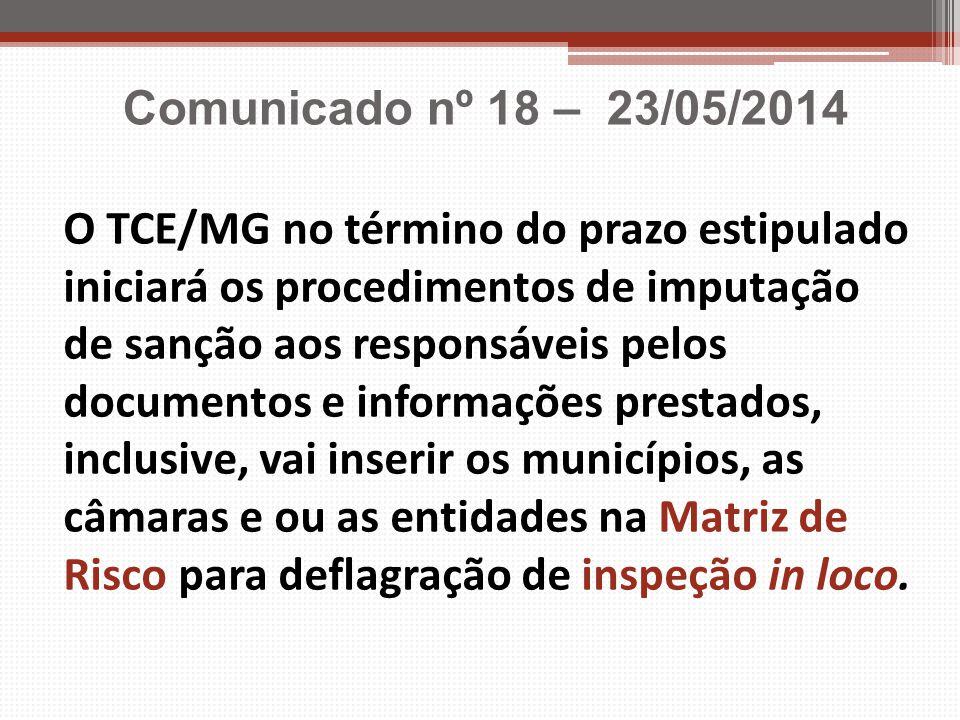 Comunicado nº 18 – 23/05/2014