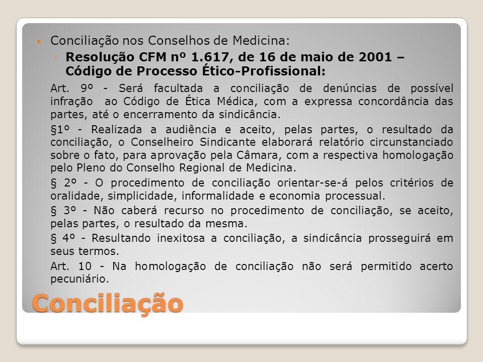 Conciliação Conciliação nos Conselhos de Medicina: