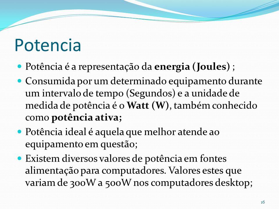 Potencia Potência é a representação da energia (Joules) ;