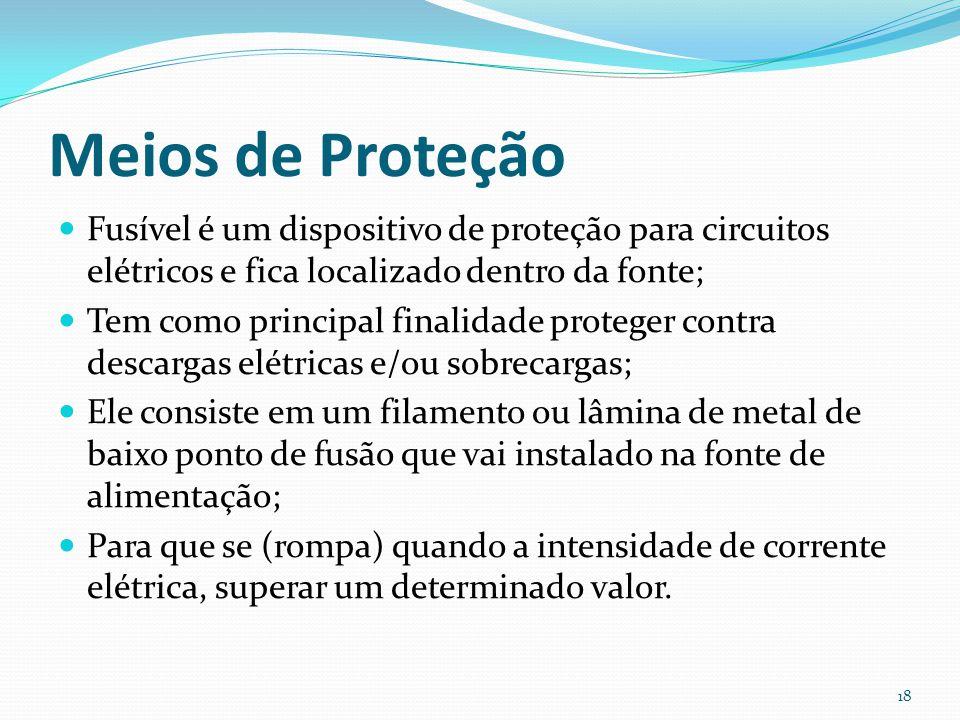Meios de Proteção Fusível é um dispositivo de proteção para circuitos elétricos e fica localizado dentro da fonte;